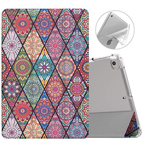 MoKo Funda Compatible con New iPad Mini 5 2019 (5th Generation 7.9 Inch)/ iPad Mini 4 2015, Ultra Delgado Protectora Plegable Cubierta Inteligente Trasera Transparente - Datura rombal