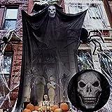 McNory 9.8ft Decoraciones Colgantes de Fantasmas de Halloween, Halloween Fantasmas,Miedo Calavera Cabeza Gasa Horror Espeluznante Esqueleto Volador Colgante,decoración de Interior y Exterior