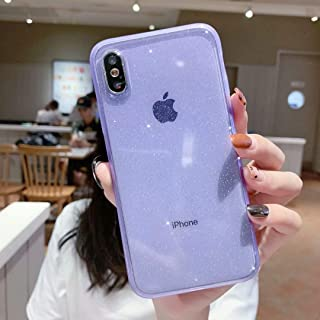 iPhone X/XS Case Glitter,Anynve Clear Bling Sparkle Case [Air Cushion Anti-Shock Matte Edge Bumper Design] Cute Slim Soft Silicone Gel Phone Case Compatible for Apple iPhone X/Xs 5.8''-Purple