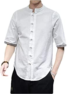 MogogN Mens Linen Summer Plus-Size Button Down 3/4 Sleeve Relaxed Shirts