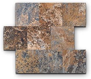 Yipscazo Peel and Stick Tile Backsplash, PVC Rusty Slate Backsplash Stone Tile for Kitchen Peel and Stick (6