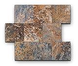 Yipscazo Peel and Stick Tile Backsplash, PVC Rusty Slate Backsplash Stone Tile for Kitchen Peel and Stick (6' X 6', Sample Sheet)