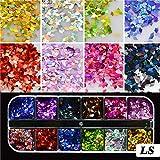HFDJTAFS1 Juego de Lentejuelas ultrafinas Nail Art Glitter Mini Colorido Redondo 3D Mezcla de decoración de uñas