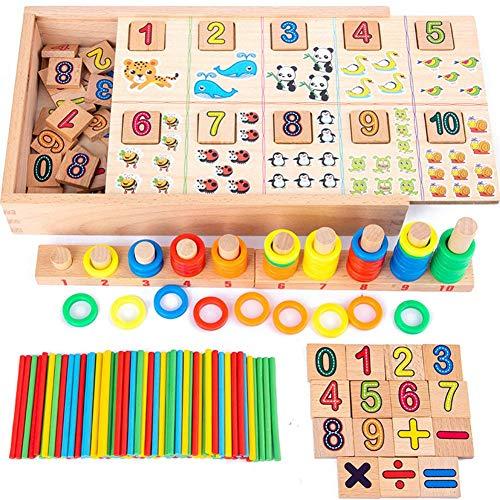 Hölzerne Puzzlespiele, die Spielwaren zählen, Vorschule, die pädagogisches Mathe-Spielwaren für Kleinkinder, zusammenpassendes Form-Sortierer-Stapeln blockiert feinmotorische Fähigkeits-Spielwaren für