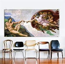 nr Arte de la Lona Pintura clásica Miguel Ángel Creación de Adán Cuadros de la Pared para la Sala Cuadros modulares 70x140 cm Sin Marco