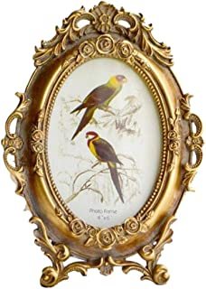 SIKOO Vintage Picture Frame 4x6 Oval Antique Table Top Wall Hanging Photo Frame with Glass Front for Home Decor, Gold