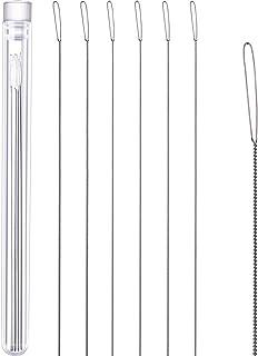 Chuangdi 6 Stücke Edelstahl Große Großes Auge Zusammenklappbare Stickerei Perlen Nadel Nähfaden StilA