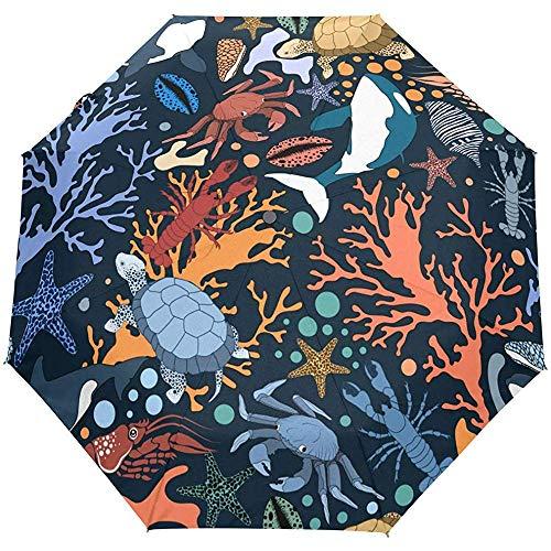Ocean Sea Turtle Shark Tortoise Tier Auto Open Umbrella Sonnenregen Regenschirm Anti UV Folding Compact Automatic Umbrella