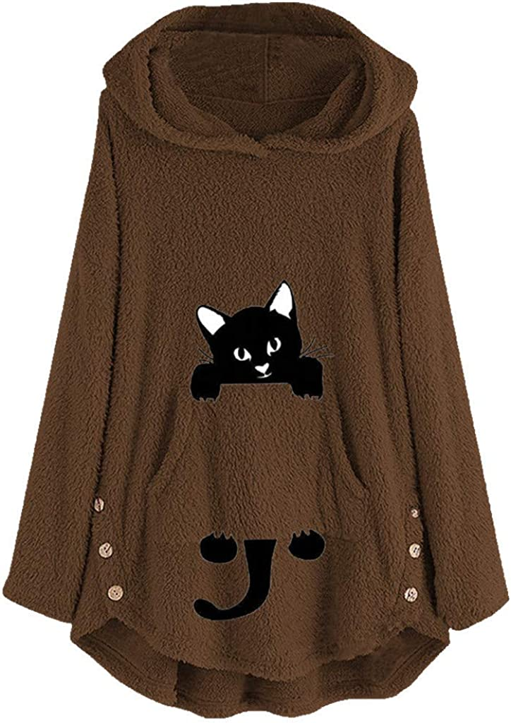 Forwelly Plus Size Tunics Sweatshirt Hooded for Women Fashion Cat Print Plush Hoodies Loose Pullover Winter Tops M-5XL
