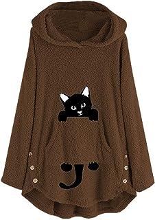 Abrigos Mujer Invierno Rebajas,Tallas Grande Peluche Abrigo Pelo Suelto Pullover Sudadera con Capucha Bolsillo Chaquetas de Lana