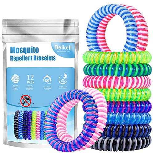Beikell Mosquito Repellent Bracelets, [12 Pack] Anti Mosquito Insect Bracelets Bands, 100% Natural DEET-Free Waterproof Wristbands for Safe Outdoor Travel Protection up to 250 Hours for Adults & Kids