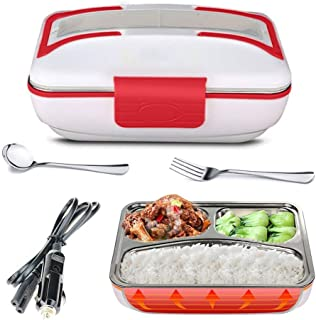 LOHOME Electric Heating Lunch Box - Insulated Car Lunch Box Bento Meal Heater Food Warmer Stainless Steel Portable Lunch Containers with Car Charging Function Free Spoon & Fork (Red)