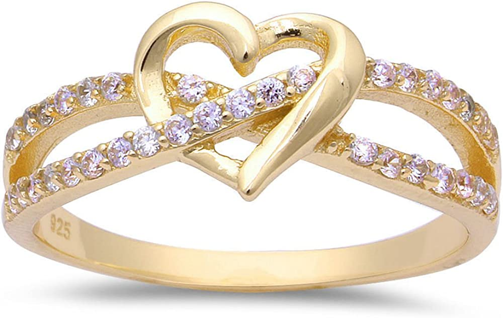 Oxford Diamond Today's only Co Sterling Silver Love Knot Heart Infinity Fashionable Ring
