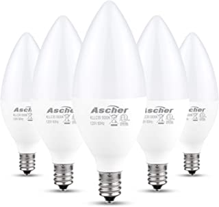 Ascher E12 LED Candelabra Light Bulbs, 5W, Equivalent 60W Incandescent Bulb, 550 Lumens, Daylight White 5000K, Candelabra Base, Non-dimmable, Chandelier Bulb, Pack of 5