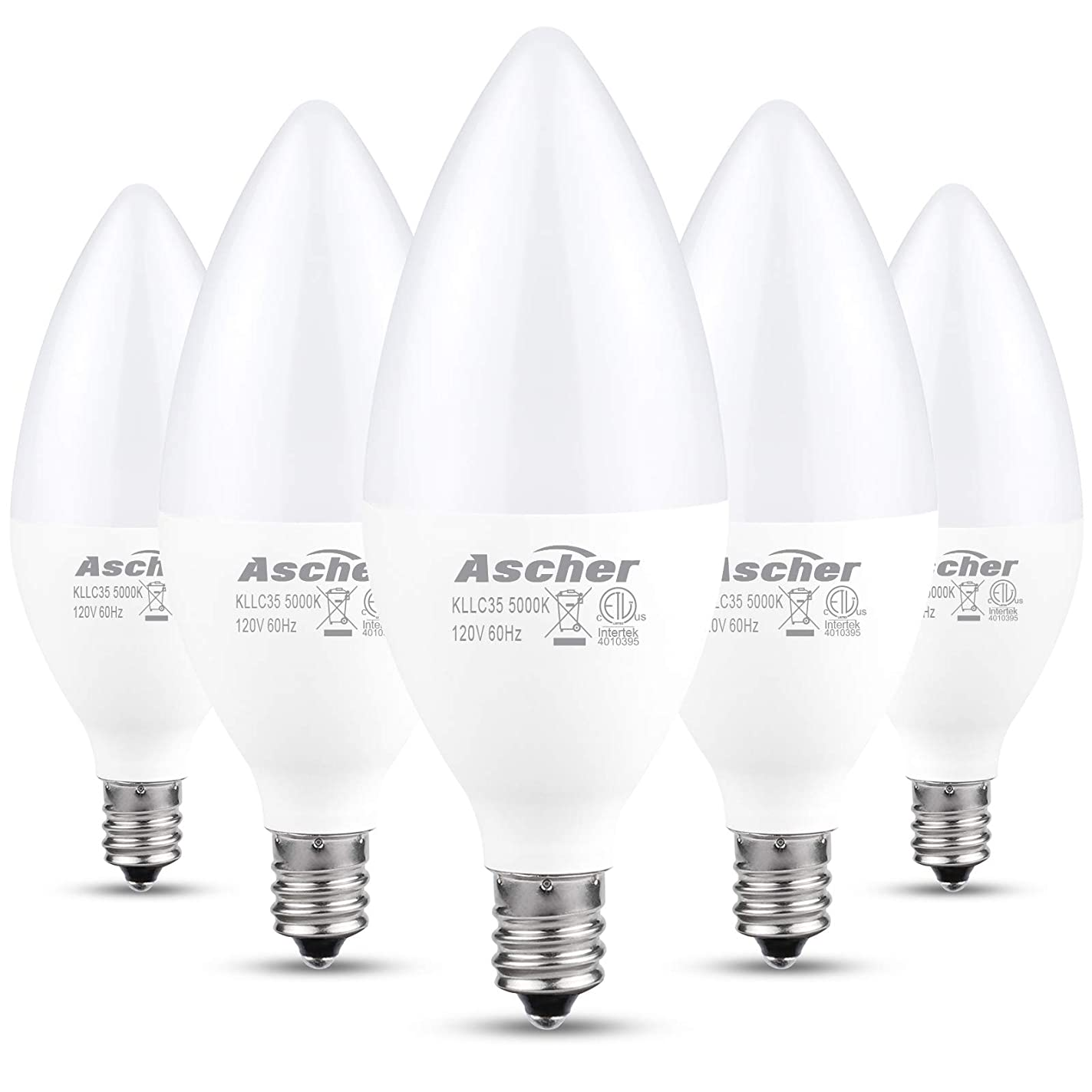 Ascher E12 LED Candelabra Light Bulbs, Equivalent 60W, 550 Lumens, Daylight White 5000K, Candelabra Base, Non-dimmable, Chandelier Bulb, Pack of 5