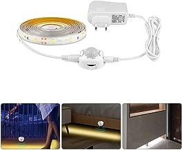 LED Wireless PIR Motion Sensor Light Strip, Wardrobe Cabinet Flexible LED Strip Bed Night Light (EU Plug, White, 3M)
