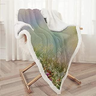 Zara Henry Flower Bed Fleece Blanket, Cosmos Daisy Cornflower Wildflower Dandelion in Floral Meadow Drawing of Nature Multicolor Wool Blanket