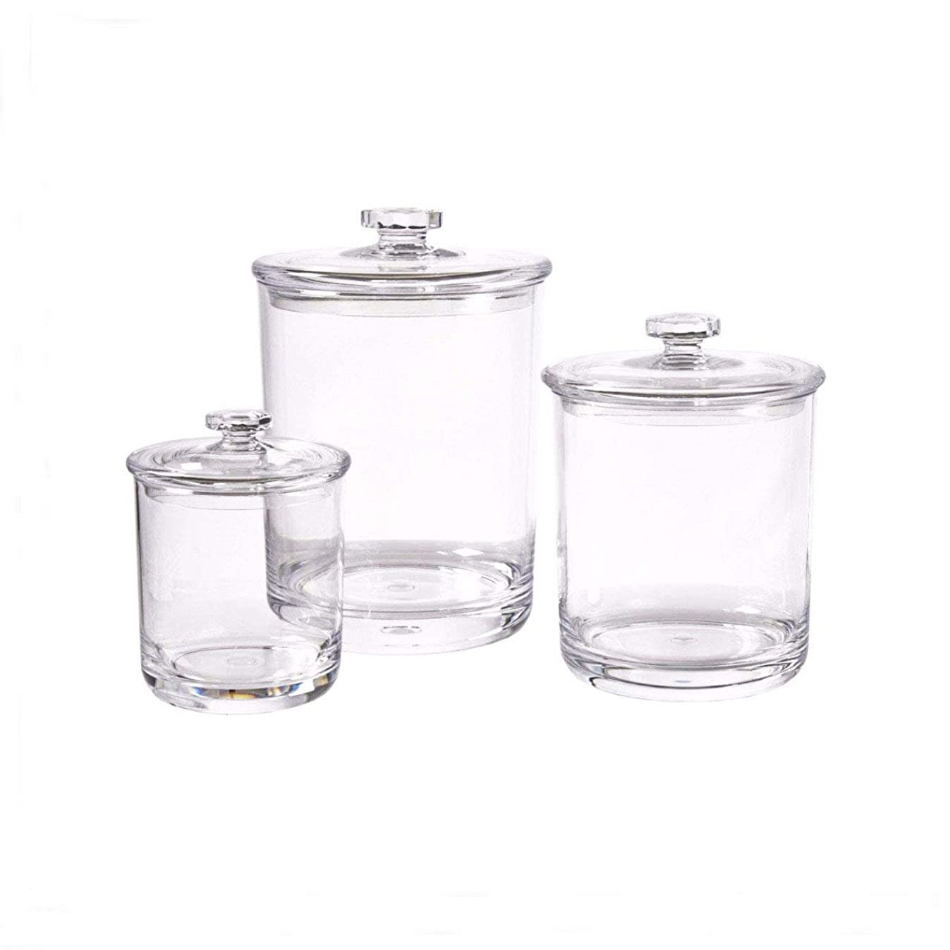 Easyway Set of 3 Apothecary Multifunctional Acrylic Jars – Plastic Jars – Great Home Decor Pieces – Apothecary Jars Large – Apothecary Jars Bathroom – Bath Bomb Holder