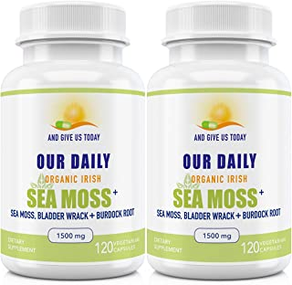 Our Daily Vites Organic Sea Moss + 1500 MG 2 Pack 240 Ct Wildcrafted Irish Sea Moss, Bladderwrack and Burdock Root Capsule...