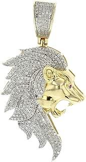 10K Gold Lion Head Diamond Pendant 0.67ctw Round Diamonds Mens Leo Charm 50mm