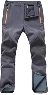 Gash Hao Mens Snow Ski Waterproof Softshell Snowboard Pants Outdoor Hiking Fleece Lined Zipper Bottom Leg