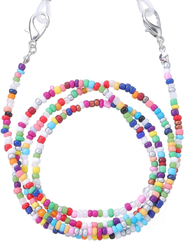 Yeedamy mask Lanyard mask Chain Holder for Kids Girls & Women Beads Necklace (2pcs)