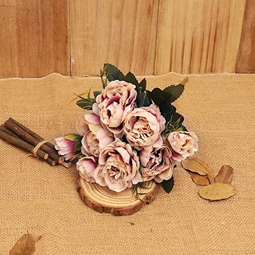 Künstliche Blumen Kaffee Pfingstrose-künstliche Blumen Kleine Retro Silk Faux Blumen-Arrangement Herz Supplies Gefälschte Blumen Hochzeit Home Decor (Color : 25pcs Paper straw1)