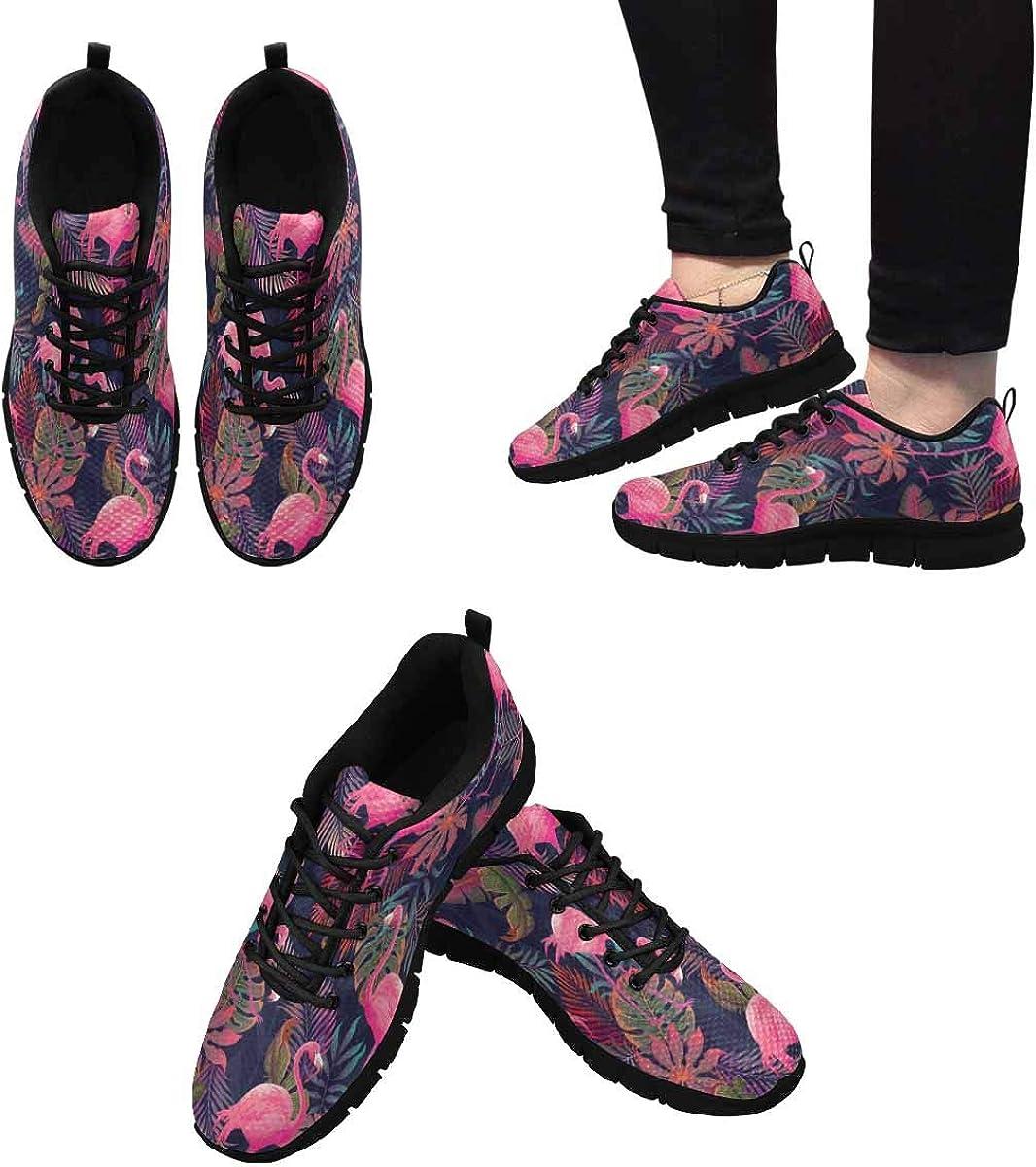 INTERESTPRINT Flamingo Tropical Pattern Women's Athletic Walking Shoes Casual Mesh Comfortable Work Sneakers