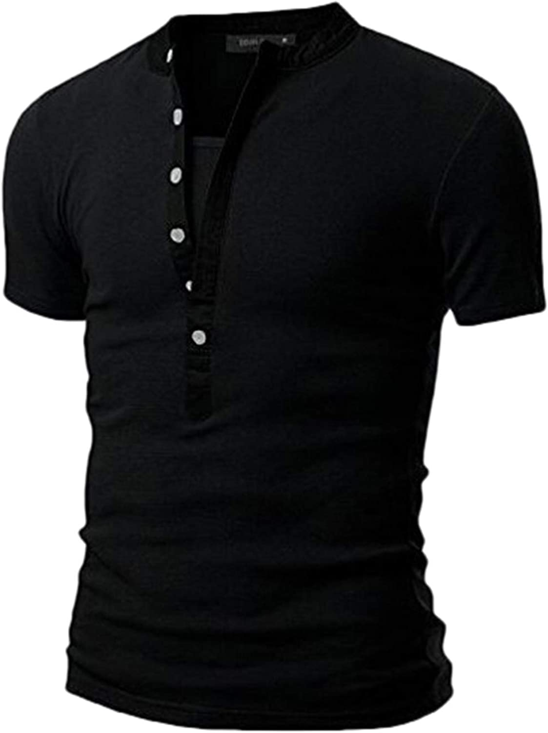 FUNEY Mens Shirts Lightweight Short Sleeve Beefy Henley T-Shirts Casual Soft Athletic Regular Fit Polo Shirts for Men