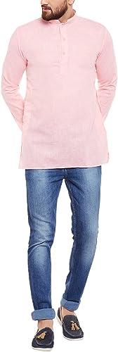 Royal Sojanya Hommes's Cotton Linen courte Kurtas X-grand rose