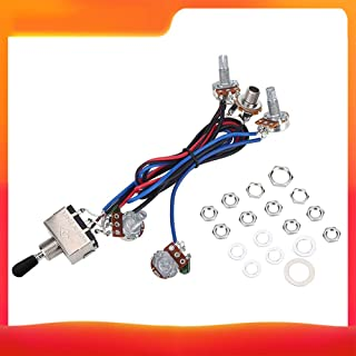 Gecheer Prewired Wiring Harness Kit for LP Electric Guitar 2T2V 500K Pots 3 Way Toggle Switch Wiring Harness with Jack for...