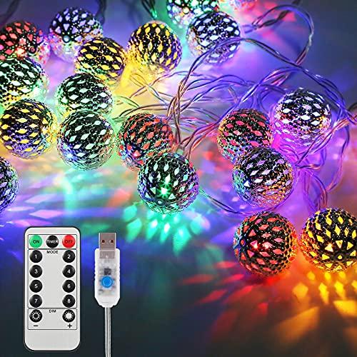 Vegena Cadena de luces LED con 20 Led 3M, 8 Modos Regulable con Mando a Distancia, Bolas Orientales, Cadena de Luces de Navidad con USB, NO Funciona con pPilas, Multicolor