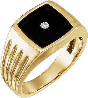 FB جواهر الذهب الأصفر عيار 14 قيراط من العقيق للرجال و .005 قيراط من الماس الدائري الحجم 10