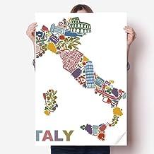 DIYthinker Map Italy Landmark National Flag Architecture Vinyl Wall Sticker Poster Mural Wallpaper Room Decal 80X55Cm 80Cm...