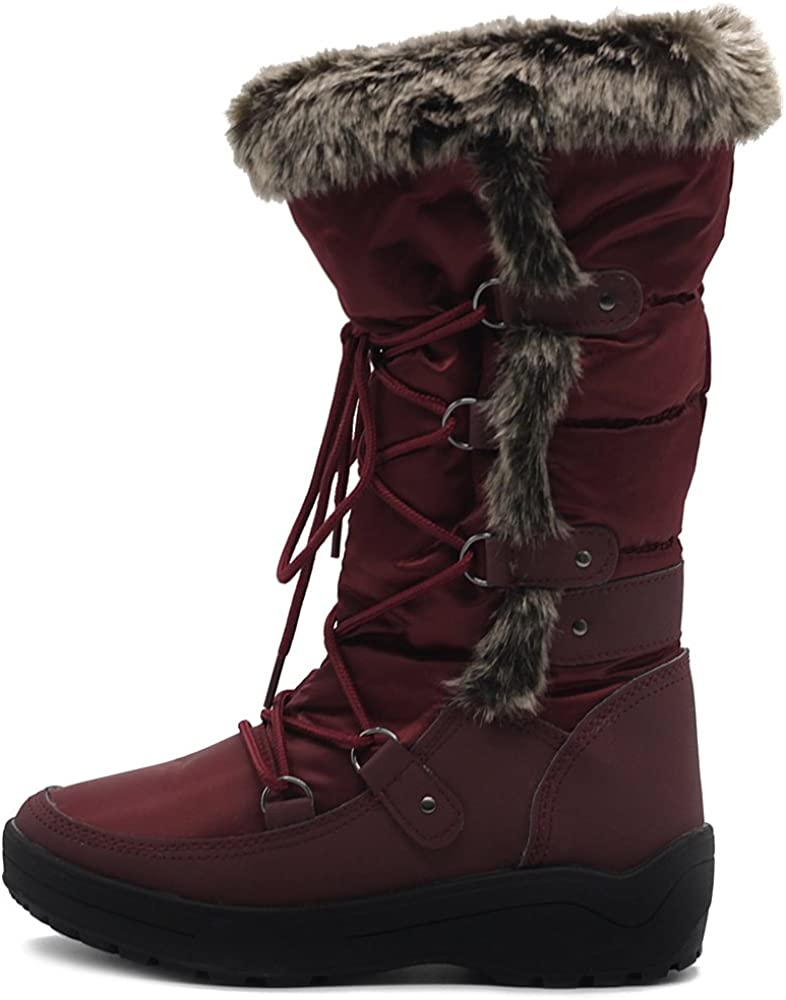 Ranking TOP6 Ollio Women's Shoe Washington Mall Lace Up Nylone Boots Fur Padding Quilted Snow