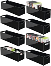 mDesign Plastic Stackable Household Storage Organizer Container Bin with Handles - for Media Consoles, Closets, Cabinets - Holds DVD's, Video Games, Gaming Accessories, Head Sets - 8 Pack - Black