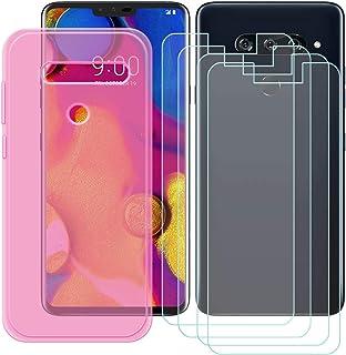 YZKJ Fodral för LG V40 ThinQ Cover rosa silikon skyddande skal TPU skal skal skal skal 4 stycken pansarglas skärmskydd för...