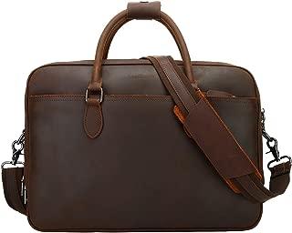 Mens Leather Briefcase Crossbody Bag Leather Computer Bag Messenger Bag Fit for 14