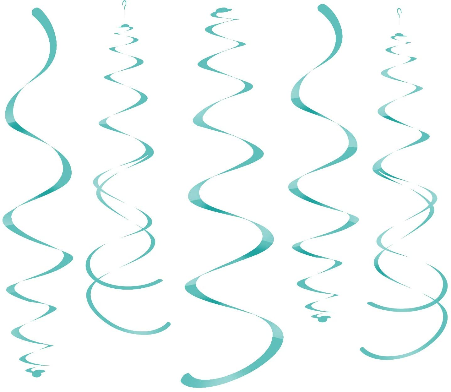 WEVEN Teal Party Hanging Swirl Decorations Plastic Streamer for Ceiling, Pack of 28