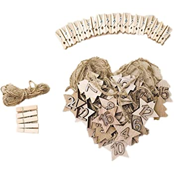 Chiffres de lAvent en feutrine 24 pcs Coeur blanc 2,2 cm