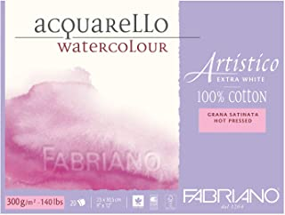 "Fabriano Artistico Watercolor Extra White Block 9""x12"" 300gsm HP 20 Sheets"