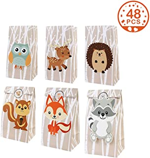 Aytai 48pcs Woodland Party Favor Bags, 3D Animal Party Bags with Thank You Stickers for Kids Woodland Creatures Baby Shower Birthday, Woodland Party Supplies