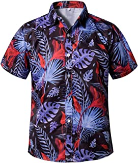 Hawaii Short Sleeve Shirt Men Casual Fashion Loose Print Shirt Beach Shirt
