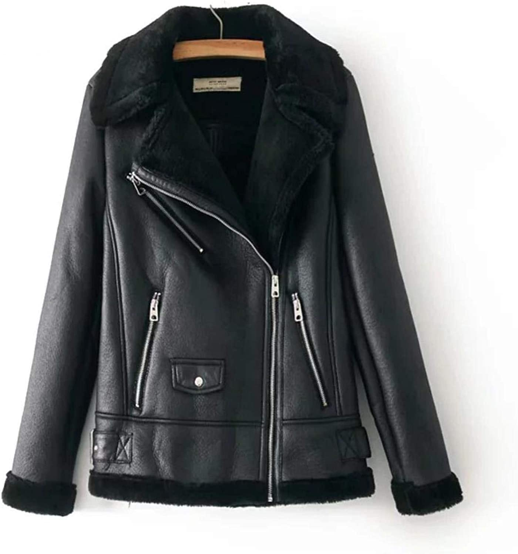 BeautyW Women's Sexy Punk Style Lapel Thick Warm PU Leather Jacket Zip Coat