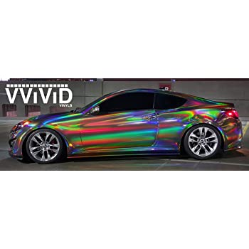VViViD Black Holographic Vinyl Wrap Rainbow Finish Roll DIY Air-Release Adhesive Film .5ft x 5ft