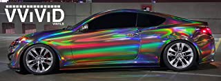 VViViD Black Holographic Vinyl Wrap Rainbow Finish Roll DIY Air-Release Adhesive Film (Sample (3 Inch x 4 Inch))