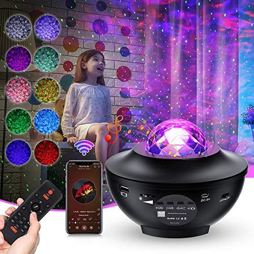 LED Sternenhimmel Projektor,Ozeanwellen Nachtlicht Lampe Sternenprojektor mit Fernbedienung Timer | Musikplayer | Bluetooth,Für Party Dekoration Schlafzimmer Erwachsene Kinderzimmer Raumdekoration