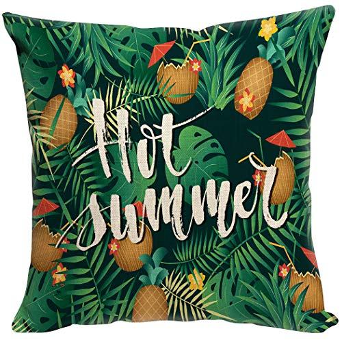 Violetpos - Funda de cojín Decorativa para sofá, decoración para Coche, cojín de Coco, Flores Verdes y Tropicales, Lino, Azul, 50 x 50 cm