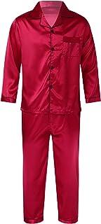 CHICTRY Men Silk Satin Pajamas Set Long Sleeve Button-Down Shirt Top Long Pants Loungewear Sleepwear