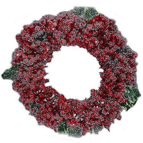 Ghirlanda Rossa innevate Palline Bacche di Natale addobbi Decorazioni Natalizie Ornamento casa vetrine Negozi Idea Regalo